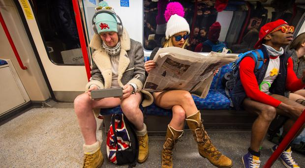 Extreme Cold Doesn't Deter No Pants Subway Ride