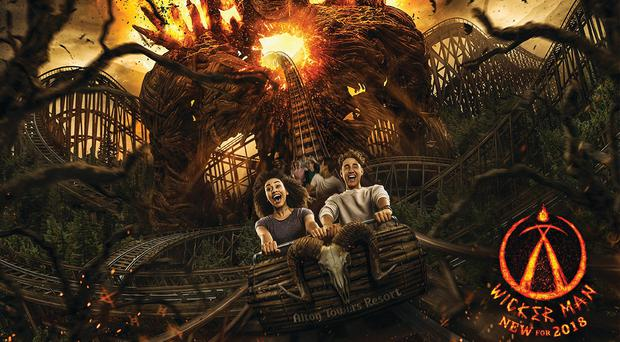 Promotional artwork for the new ride, Wicker Man (Alton Towers/PA)