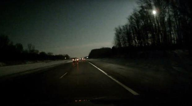 Cameras caught the bright light of a suspected meteor just after 8pm on Tuesday (Collin Bulkley/PA)
