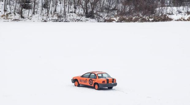 Michigan residents are betting on when this car will fall through the ice (Rotary Club of Iron Mountain-Kingsford/PA)