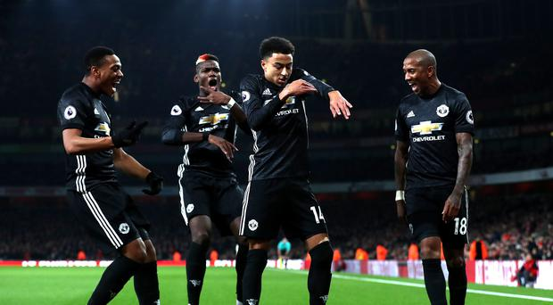 Manchester United's Jesse Lingard celebrates scoring his side's second goal of the game