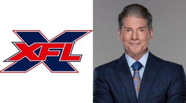 The XFL logo and Vince McMahon, chairman of the board and CEO of WWE