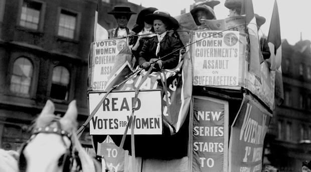 A demonstration by Suffragettes in 1910 (PA)