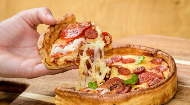 A Yorkshire pudding pizza