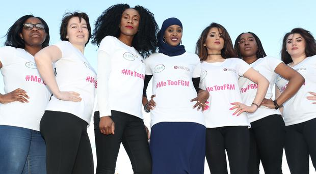 Soky Malaka, Taya Simakova, Vanessa Manunga, Ifrah Ahmed, Zhiyan Karimi, Muwa Malaka and Klaudia Okros at the launch of #MeTooFGM, a worldwide social media campaign against female genital mutilation (FGM), in Dublin city centre. Ms Ahmed, 29, was born in Somalia and survived the barbaric practice (Niall Carson/PA)