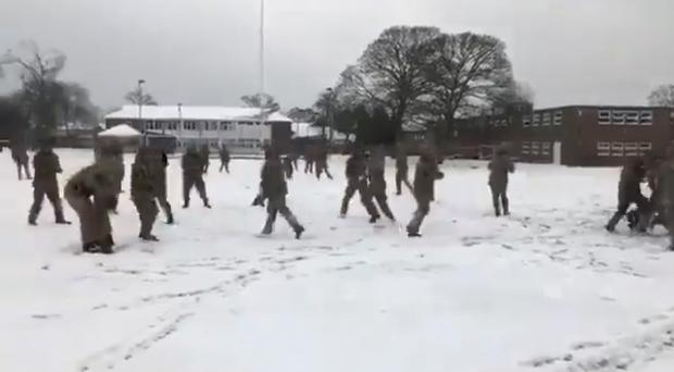 Members of the Grenadier Guards have a snowball fight