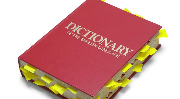 A stock image of a red dictionary with notes