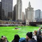 The Chicago River is dyed green to celebrate St Patrick's Day