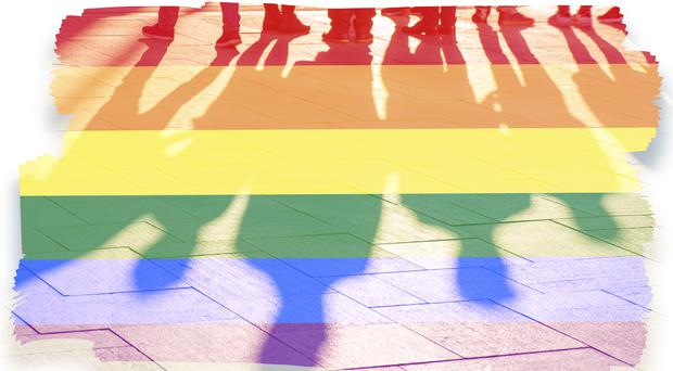 Rainbow flag and shadows concept picture (AlxeyPnferov/Getty Images)