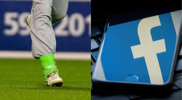 A sock tucked into trackies and the Facebook logo