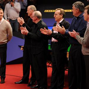 Stephen Hendry receives a round of applause at the Crucible Theatre