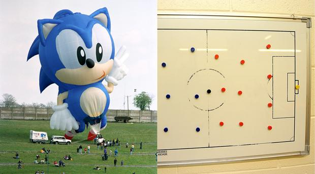 A Sonic the Hedgehog balloon and a football tactics board