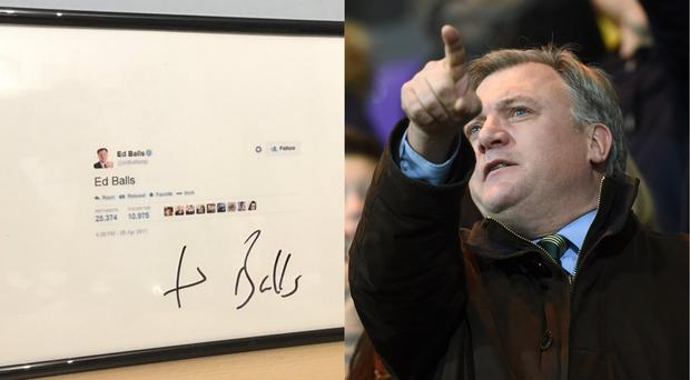 A framed picture of Ed Balls' famous tweet, and Ed Balls himself at a football match