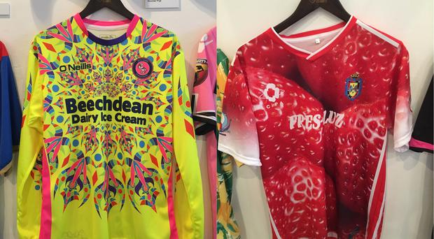 Two football shirts from Classic Football Shirts' Fabric of Football exhibition in London