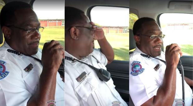 Cop in tears during final sign-off after 30 years on the job