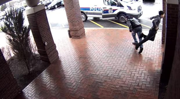 A man trips an armed suspect (Columbus Division Of Police/PA)