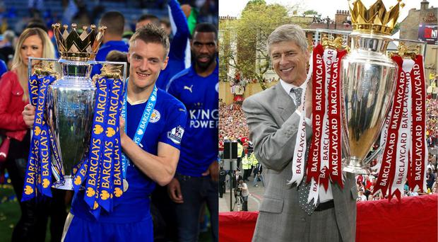 Jamie Vardy and Arsene Wenger hold the Premier League trophy (Nick Potts/PA, PA)