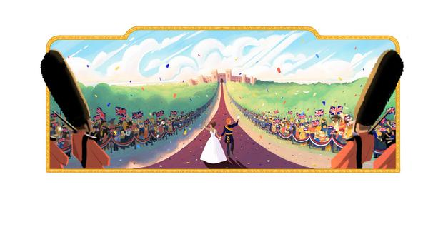 The Google doodle to mark the wedding of Prince Harry and Meghan Markle