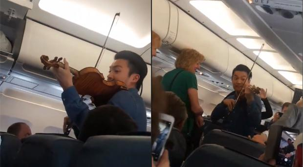 Violinist Ray Chen performing on the plane