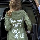 Melania Trump wore a jacket on a visit to unaccompanied migrant children that has attracted some comment. (Andrew Harnik/AP)
