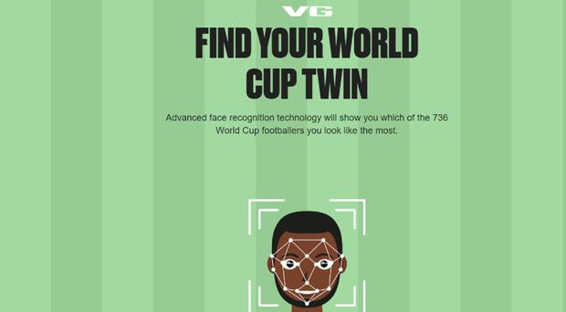 Screenshot of VG's Find Your World Cup Twin (VG/PA)