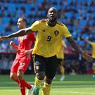 Belgium's Romelu Lukaku celebrates scoring his side's second goal of the game