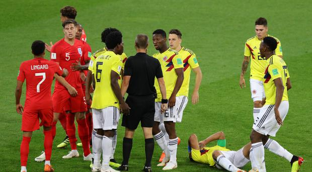 England and Colombia footballers during their last-16 game at the 2018 World Cup – (Aaron Chown/PA)