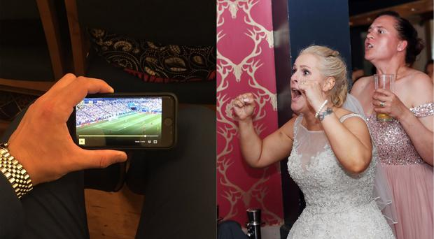A bride watches the game (@scottyw0986/Twitter and Danny Lawson/PA)