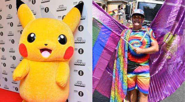 Pikachu and a marcher at London Pride (Matt Crossick/PA and John Stillwell/PA)