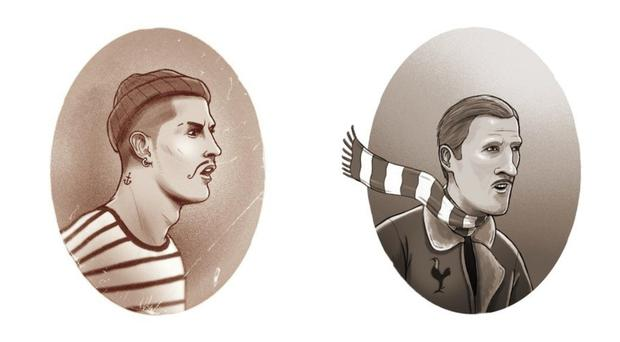 Illustrations depicting Cristiano Ronaldo and Harry Kane in the past (Dan Leydon)