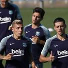 Barcelona footballers during a training session – (Manu Fernandez/AP)