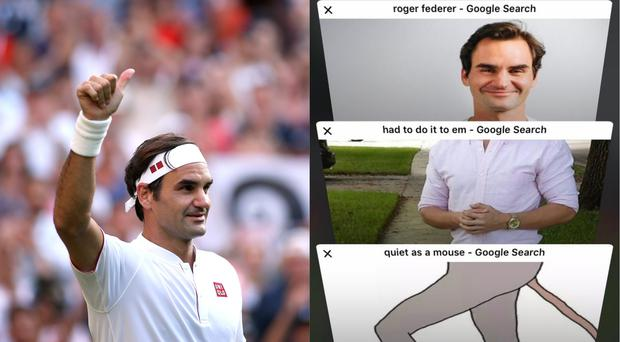 Tennis player Roger Federer and a meme of the Swiss athlete – (Steven Paston/PA and @itscameliaaa/Twitter)