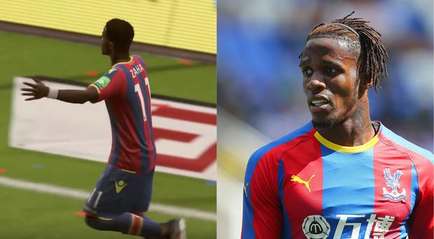 Crystal Palace forward Wilfried Zaha on Fifa 18 and in real life (Screenshot/EA Sports, Mark Kerton/PA)