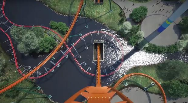 A point-of-view image of the 90-degree drop on the Yukon Striker dive roller coaster at Canada's Wonderland (Canada's Wonderland/YouTube)