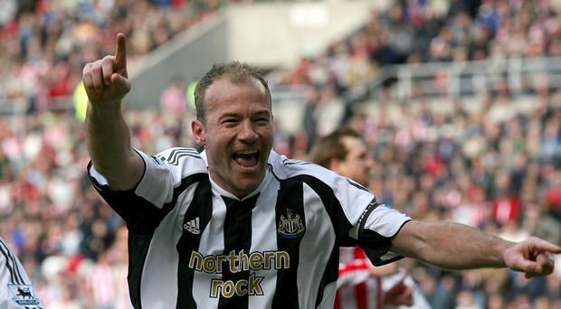 Newcastle United's Alan Shearer celebrates after scoring from the penalty spot – (Owen Humphreys/PA)
