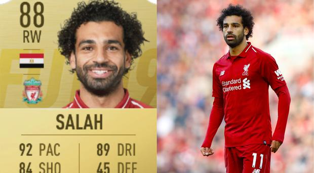 Liverpool's Mohamed Salah and his Fifa 19 card – (Martin Rickett/PA)