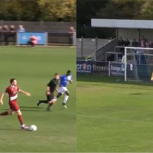 Chelmsford City defender Michael Spillane scores a wonder goal from his own half – (FCVideo/Wealdstone FC)