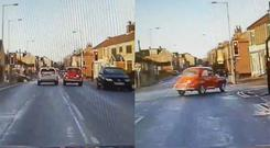 A 51-year-old Morris Minor attempts to evade the police – (WYP Roads Policing Unit/Twitter)