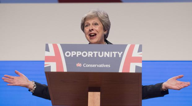 Prime Minister Theresa May delivers her keynote speech at the Conservative Party annual conference in Birmingham (Stefan Rousseau/PA)