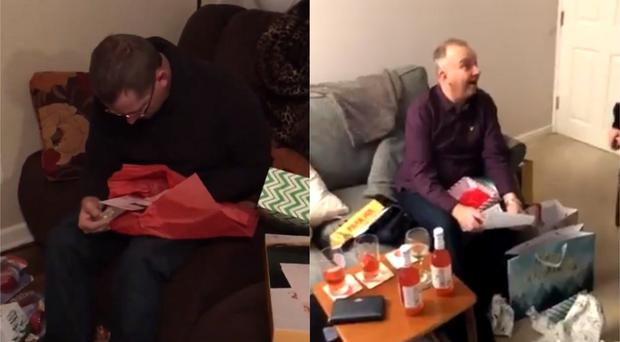 Two men react to receiving a Christmas present each – (Photos courtesy of Randi Hilsercop and @Lucfergy/Twitter)