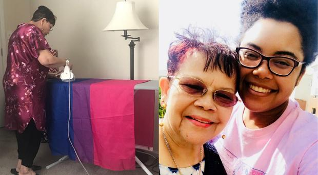 Lexie Nobrega and her grandmother, who went viral for ironing her Pride flag (Lexie Nobrega/PA)
