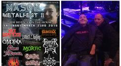 The poster for Mason Metalfest, left, and Mason McDeid and dad Richard, right (Richard McDeid)