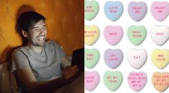 A man laughing while looking at a tablet, and some funny love heart messages (silverkblack/Getty Images and Janelle Shane)