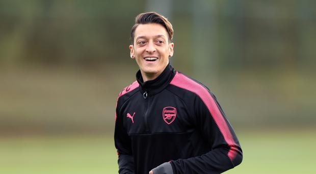 Arsenal's Mesut Ozil during the training session at London Colney.