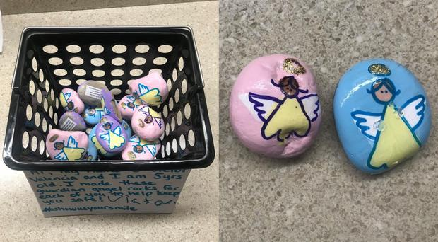 A five-year-old painted guardian angel rocks for police officers (Kenosha Police Department)
