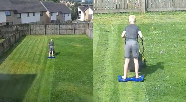 Hoverboard lawn mowing, as practised by Nathan Gallacher, 11 (Liz Robertson)