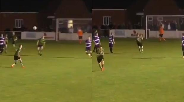 Jake Parker scores a volley for 1874 Northwich in a league game (@1874Northwich/Twitter)
