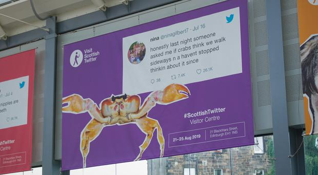 A picture of a selection of Scottish tweets on posters in Haymarket, Scotland (Josh McClure)
