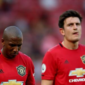 Manchester United's Ashley Young appears dejected after the final whistle during the Premier League match at Old Trafford (PA)