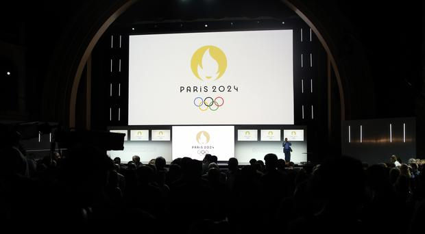 Paris 2024 Olympic logo is displayed on a screen (Thibault Camus/AP)